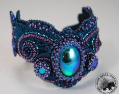 Purple & Teal Jasmyn Bead Embroidered Cuff