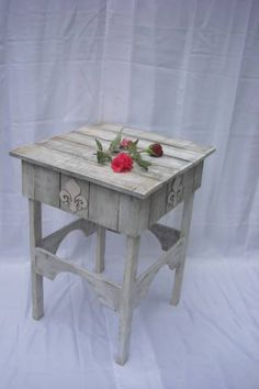 Rustic Reclaimed Barnwood Side Table French Country by farmdust,