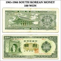 Scanned copy of South Korean money from 1965-1966.