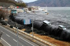 Before & After snaps from the 2011 Japanese tsunami-- good presentation technique