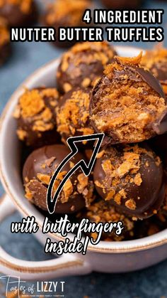 Butterfinger Nutter Butter Truffles…You'll love this tornado of cream cheese, Nutter Butter cookies and Butterfinger candy bars rolled up and covered in chocolate. One of the first ideas we had for Lizzy T recipes were tornado truffles. I know…what in the world is a tornado truffle? In theory it was a good thing. Take a bunch of our favorite desserts and mash them together into one ball, then dip in chocolate. Truffle Butter, Nutter Butter Cookies, Peanut Butter Recipes, Candy Bars, No Bake Desserts, 4 Ingredients, Truffles, Christmas Cookies, Theory
