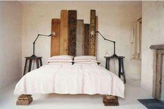 reclaimed wood plank headboard + salvaged industrial elements