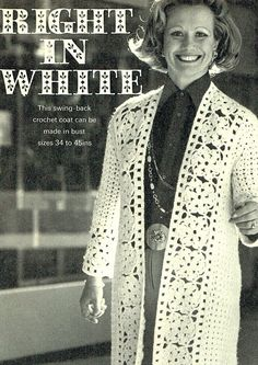 PDF Vintage Womens  Ladies Crochet Pattern Elegant Lacy Coat
