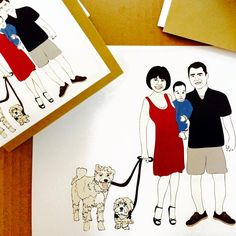 Custom illustrated print + set of greeting cards for the Lawlor family