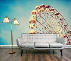 Vintage Retro Ferris wall mural peel & stick wall by StyleAwall on Etsy