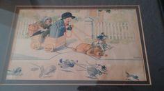VINTAGE CHARLES TWELVETREES FRAMED ANTIQUE ART PRINT Boy Girl Dogs Pulling Cart