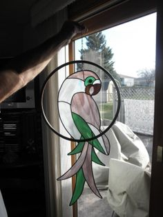 Handmade Stained Glass Suncatcher Parrot Bird | eBay