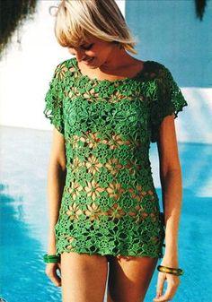 Vintage 1970s Crochet Pattern Lacy Flower Beach Cover Up Mini Dress Tunic Blouse PDF. $3.00, via Etsy.