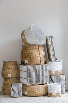 White and brown baskets via Cobello Bountiful Baskets, Upcycled Home Decor, Interior Decorating, Interior Design, Storage Baskets, Basket Weaving, Wicker Baskets, Boho Decor, Jute