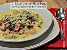 Chicken Cordon Bleu Soup - Low Carb and Gluten Free