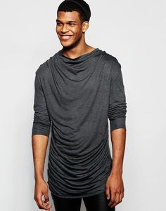 ASOS | ASOS Longline Long Sleeve T-Shirt With Extreme Ruche at ASOS