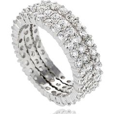 Alexandria Collection Sterling Silver Cubic Zirconia 3-Piece Band Bridal Set