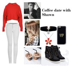 """""""Coffee Date with Shawn"""" by niallslaughiscute ❤ liked on Polyvore featuring TIBI, JustFab, 2LUV, Casetify and Del Gatto"""