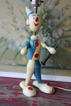 Vintage Childrens Whimsical Clown Lamp by ValsVintageShoppe, $26.00