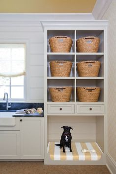 Ways to Incorporate Pet Items into Your Home Décor Built in dog bed in laundry room. MoreBuilt in dog bed in laundry room. Rustic Laundry Rooms, Farmhouse Laundry Room, Laundry Room Design, Laundry Room Ideas Stacked, Dog Room Design, Kitchen Design, Laundry Room Cabinets, Laundry Room Organization, Diy Cabinets