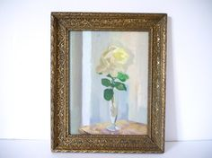 French vintage oil floral painting of a yellow rose Painting/Art on board/Folk Art/Home Decor/still life