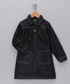 Take a look at this Black Denim Organic Shirt Dress - Girls by baobab on #zulily today!