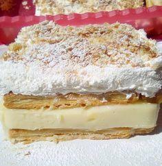 Από τα ωραιότερα Μιλφέιγ που έχετε δοκιμάσει! Custard Slice, Vanilla Custard, Vanilla Cake, Greek Desserts, Summer Desserts, Greek Recipes, Tiramisu, Cheesecake, Food And Drink