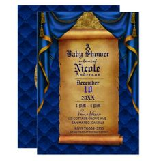 Royal Blue & Gold Drapes Scroll Baby Shower Card - invitations personalize custom special event invitation idea style party card cards