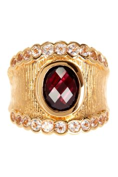 Garnet & White Topaz Ring