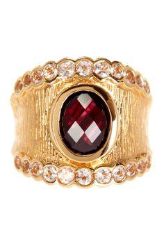 Garnet White Topaz Ring