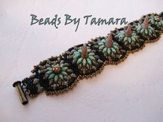 Squash Blossom Czech Bohemian Spike Bead Woven Bracelet in Turquoise, Bronze and Black