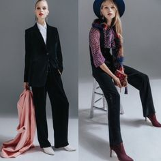 High Heels in the Wilderness: If Wishes Were Dresses... Festive Dressing Decision Time. Blue velvet panys suit with white blouse and white boots. Tuxedo  trousres, lilac pring tie blouse and black vest. Both looks from Fashionmagazine.com Winter 2017 issue