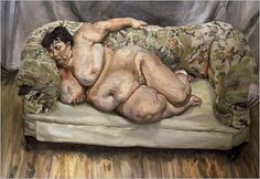Sue Tilley lies languidly on the sofa in a bohemian artist's  studio, far removed from her day job as a civil servant working for the Department of Social Security. Freud was initially fascinated by her size, however as time passed her proportions became more ordinary to him. Freud's portraits of Tilley are a celebration of flesh and as feminine as Manet's Olympia or the Rokeby Venus by Velázquez, although far less idealised.