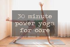 Pin it! 30 min power yoga video with a focus on the core. Wearing: Teeki pants, tank, and using manduka mat.