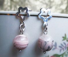 New earring model Pastel. Silver 950 and natural stone Rhodochrosite . #HandMade