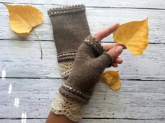 Neutral Brown Fingerless Mittens  Mori Girl Mittens by ussuriknits