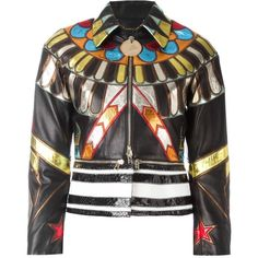 Givenchy embroidered patchwork jacket (€6.250) ❤ liked on Polyvore featuring outerwear, jackets, brown, cropped jacket, multi color leather jacket, collared leather jacket, zip front jacket and real leather jackets