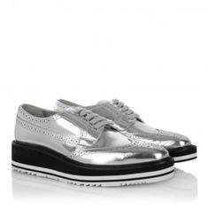 Prada Sneakers – Oxford Lace Up Silver – in silber – Sneakers für Damen