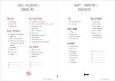 Printable Emergency kit for Bride and one for groom by Simply Bridal. Be prepared on your wedding day and do a kit for any issues you may encounter, great for what to carry on your wedding day.