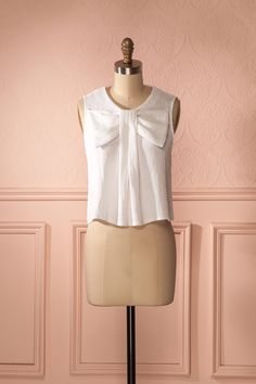 Bhumika - Ivory neckline bow cropped top