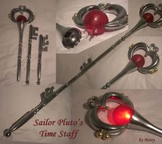 Made of wood, fiberglass, acrylic balls, little golden balls/perls.   The red ball of the Garnet Orb is illuminated with 3 LEDs.    Paint: It's Alclad Chrome (airbrush-colour)