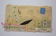 painting and embroidery on envelopes