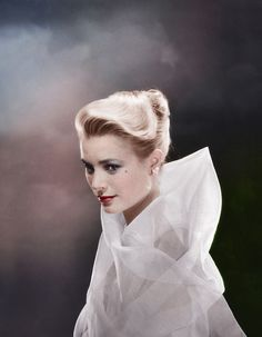 ca. 1954 - Grace Kelly, wrapped in white chiffon. - Image by © Condй Nast Archive/CORBIS