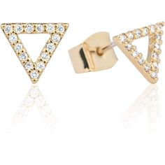Astrid & Miyu - Tuxedo Triangle Stud Earrings Gold ($67) ❤ liked on Polyvore featuring jewelry, earrings, druzy stud earrings, gold triangle earrings, 14k gold earrings, triangle earrings and triangle stud earrings