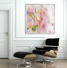 """Large abstract print, up to 40x40"""", of modern painting, Giclee print, pink white"""