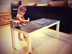The Chalkboard Coffee Table by Jill of Most Trades is Fit for Children #chalkboard #diy trendhunter.com