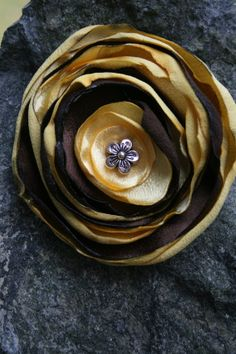 Handmade yellow and brown satin peony hair by RockabillyBabyPlace, $4.00