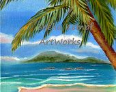 Costa Rica Highs - Original Seascape Oil Painting of Costa Rica with Palm Trees and Mountains
