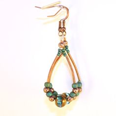 Handmade Teal and Copper Antique Gold Stackable Style Multi Strand Bracelet and Earrings with Fancy Lobster Clasp Closure