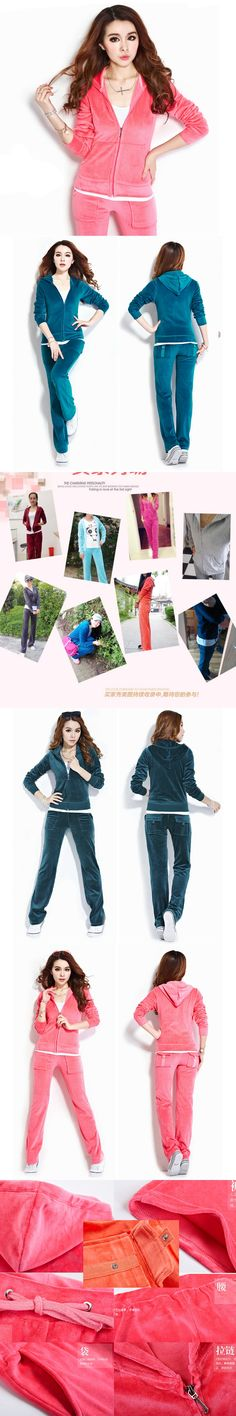 Spring / Fall 2017 new Women'S Brand Velvet Fabric Tracksuits Velour Suit Women Track Suit Hoodies And Pants female Size S - 4xL