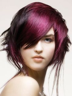 pink hair bob hairstyles (plus i think the eyebrow ring is cool)