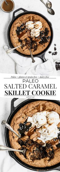 Paleo Salted Caramel Skillet Cookie Paleo Salted Caramel Skillet Cookie is gooey, buttery, and loaded with dark chocolate chunks! This Paleo skillet cookie is made with almond butter and topped with salted caramel drizzle. Paleo Sweets, Paleo Dessert, Healthy Desserts, Delicious Desserts, Dessert Recipes, Paleo Cookies, Gluten Free Cookies, Gluten Free Desserts, Paleo Baking