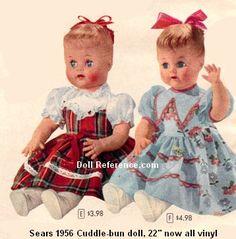 Sears 1956 Eegee Cuddle-bun doll ad Z Crochet Doll Clothes, Doll Clothes Patterns, Doll Patterns, Old Dolls, Antique Dolls, Vintage Dolls, Doll Toys, Baby Dolls, Dolly World