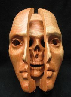 Anthony Santella, Transformation Mask, 12x9x6, wood, open