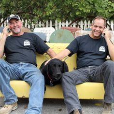 Mike Whiteside (left) and Robert Kulp, Co-Owners of Black Dog Salvage in Roanoke, VA. Love this show (DIY Network), love watching these guys. Black Dawg Salvage, Salvage Dogs, Roanoke Virginia, Diy Tv, Diy Network, Architectural Salvage, Architectural Elements, New Shows, Hgtv
